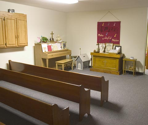 Children's Worship area located in the educational building